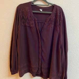 XL Old Navy brown long sleeve blouse